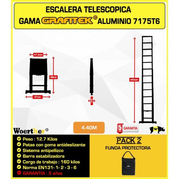 Escalera telesc pica fabricada en grafito altura m xima de - Escaleras de aluminio baratas ...