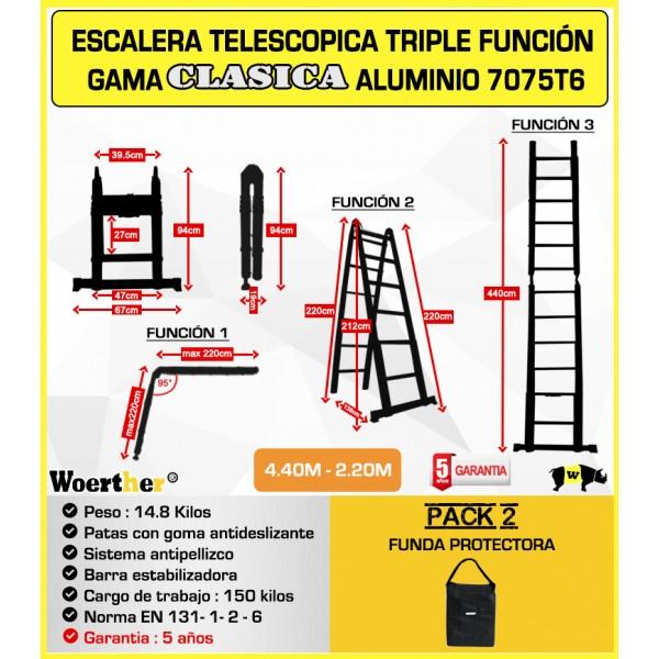 Escalera de tijera telesc pica fabricada en aluminio for Precio escalera telescopica aluminio