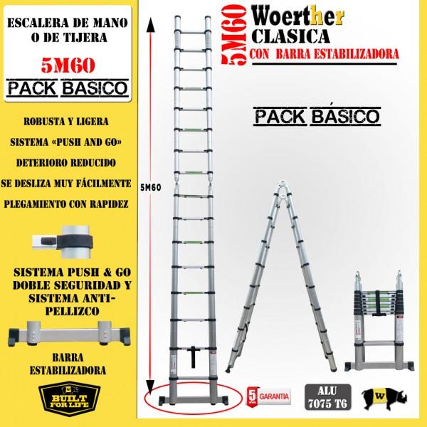 Escalera de tijera telesc pica fabricada en aluminio for Escalera de 5 metros