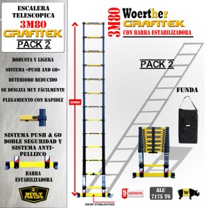 ESCALERA TELESCOPICA 3.80m WOERTHER GRAFITEK CON FUNDA