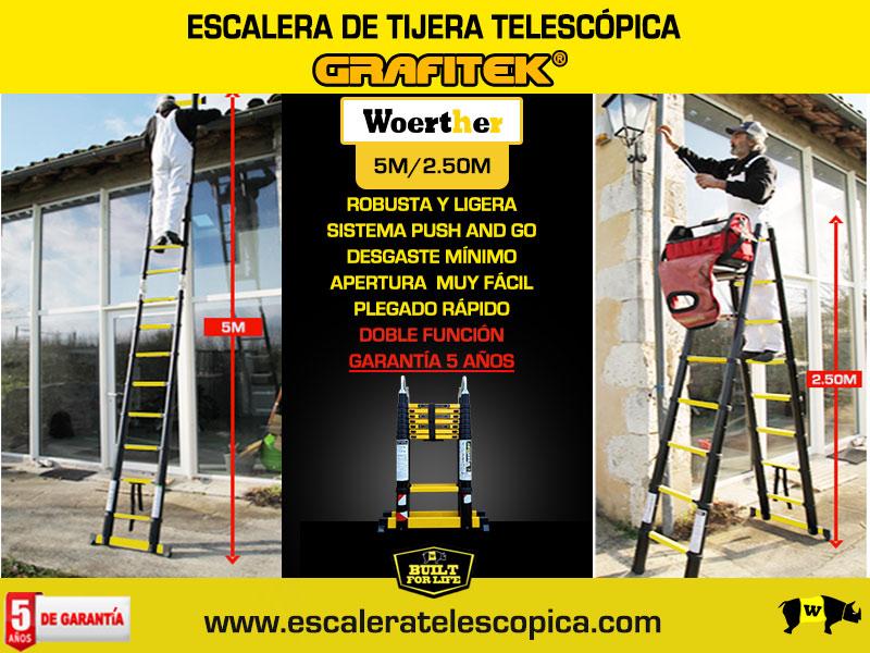 Escalera tijera telescópica 5m